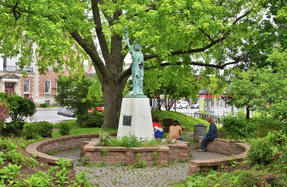 Statue of Liberty Replica in Liberty Park at the corner of Washington Avenue and State Street in Schenectady Wednesday June 6, 2012.   (John Carl D'Annibale / Times Union) Photo: John Carl D'Annibale / 00017976A