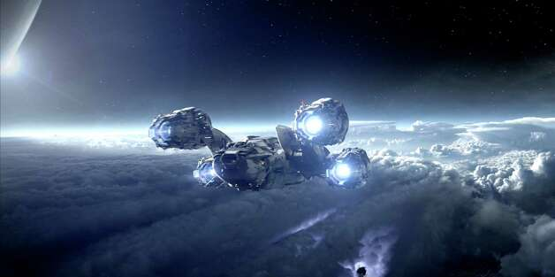 Twentieth Century Fox The spaceship Prometheus makes its way to a distant planet. Photo: Photo: Courtesy Twentieth Century Fox / TM and © 2012 Twentieth Century Fox Film Corporation.  All rights reserved.  Not for sale or duplication.