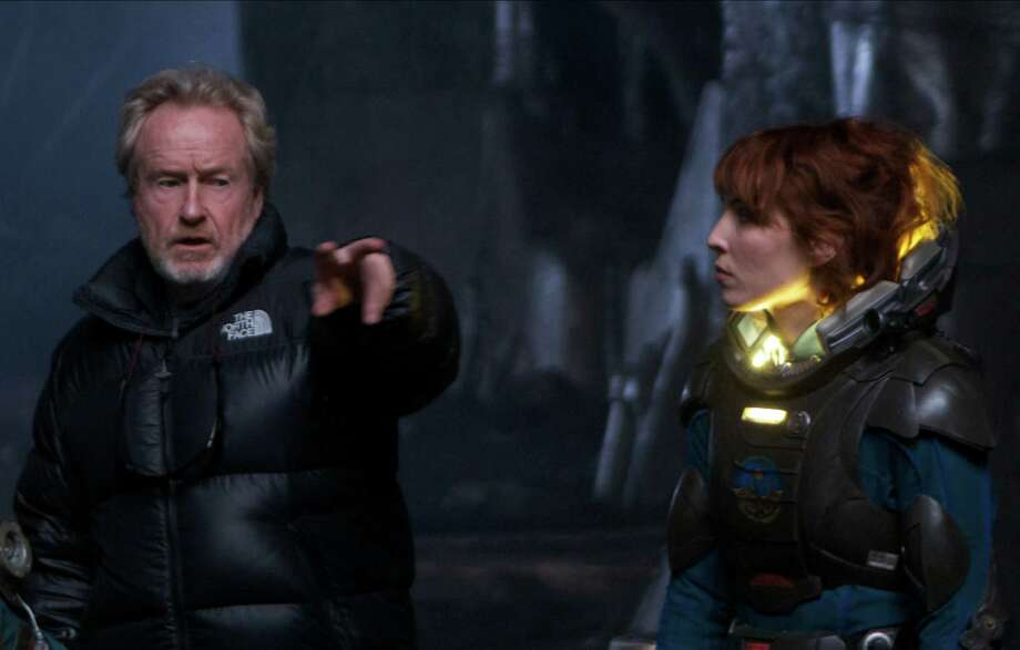 "Ridley Scott on the set of ""Prometheus"" with Noomi Rapace.  Photo: Photo: Kerry Brown / TM and © 2011 Twentieth Century Fox Film Corporation.  All rights reserved.  Not for sale or duplication."