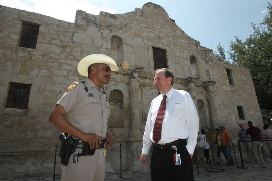 Steve Oswald (right), the new State Director of the Alamo, acquaints himself with Alamo Ranger Roger Ramirez (left) Thursday June 7, 2012. Oswald is the former CFO at Haven for Hope and said his focus is to maintain and enhance the Alamo. Photo: San Antonio Express-News