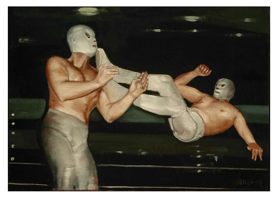 The first is a oil on canvas painting titled Santo vs Santo (2005) by Enrique Hernandez, part of La Quebradora Photo: Mission Cultural Center