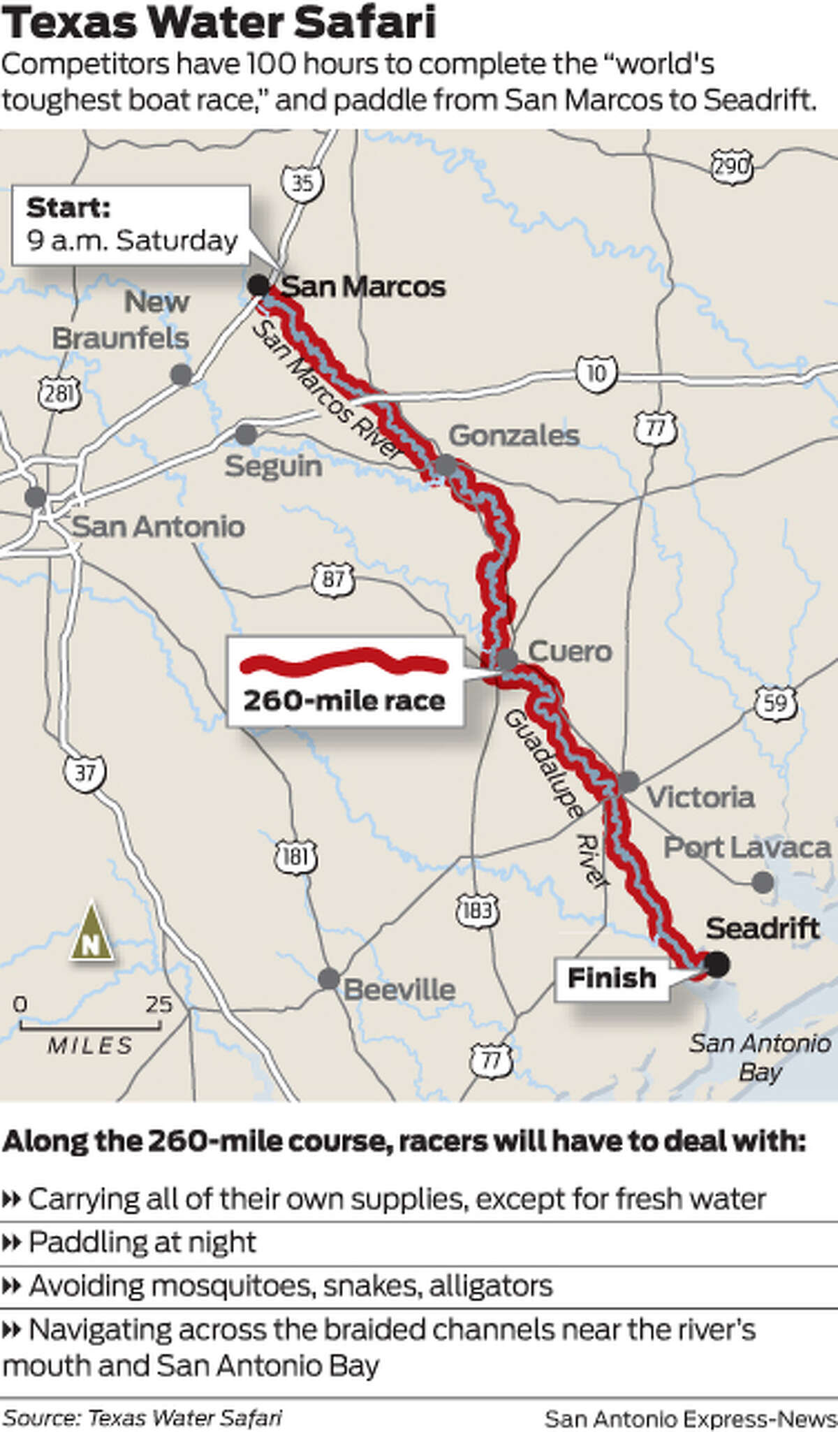 """Competitors have 100 hours to complete the """"world's toughest boat race,"""" and paddle from San Marcos to Seadrift."""