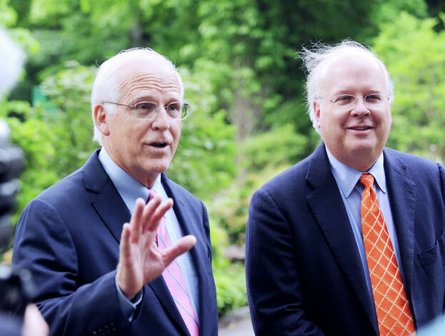 Congressman Christopher Shays, left, and Karl Rove, a Republican political strategist, during a press conference at the Greenwich home of Sidney Goodfriend, where Rove made a fundraising appearance Thursday, June 7, 2012, in support of Shays' Senate run. Photo: Bob Luckey / Greenwich Time