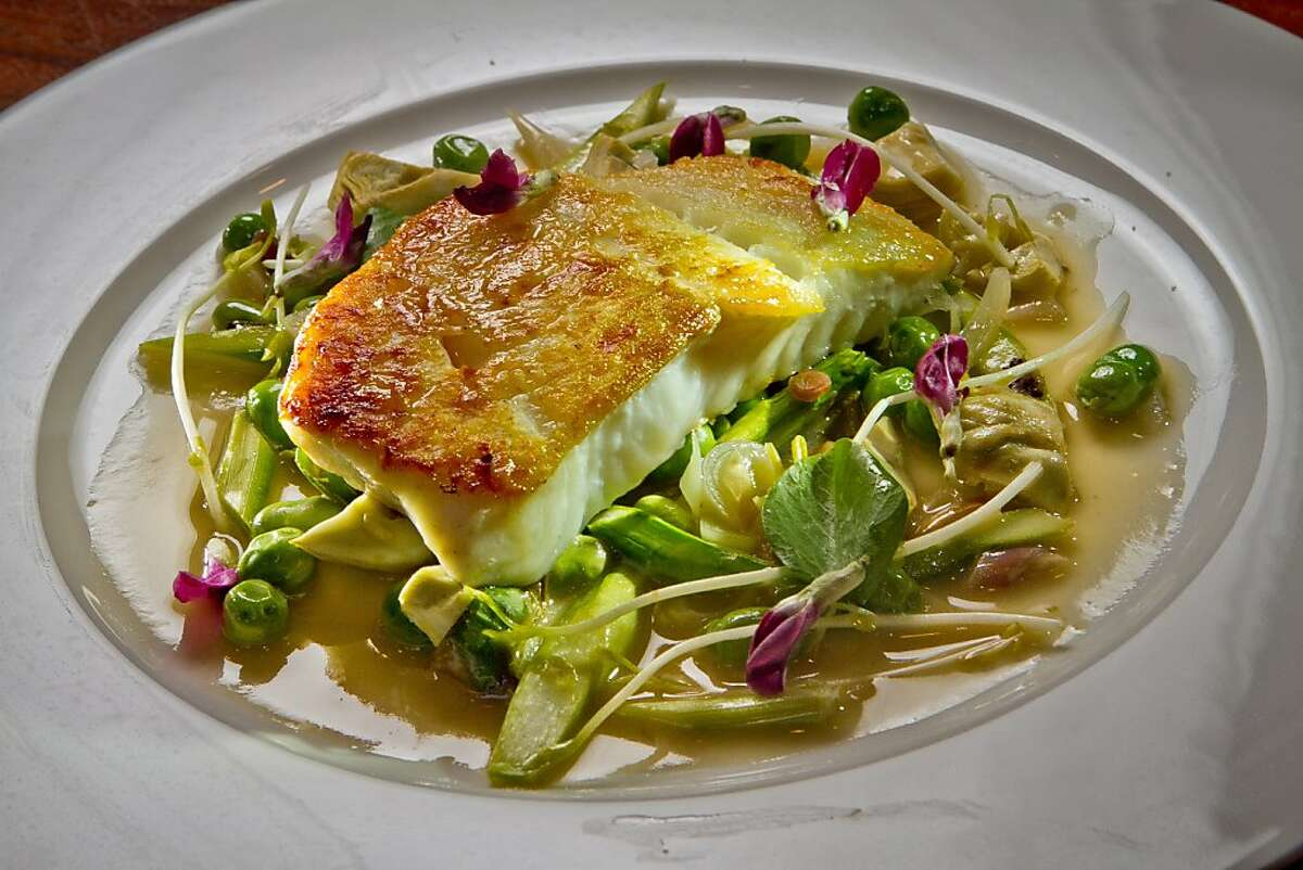 The Pan Roasted Alaskan Halibut at Lucy Restaurant in Yountville, Calif., is seen on Saturday, May 26th, 2012.