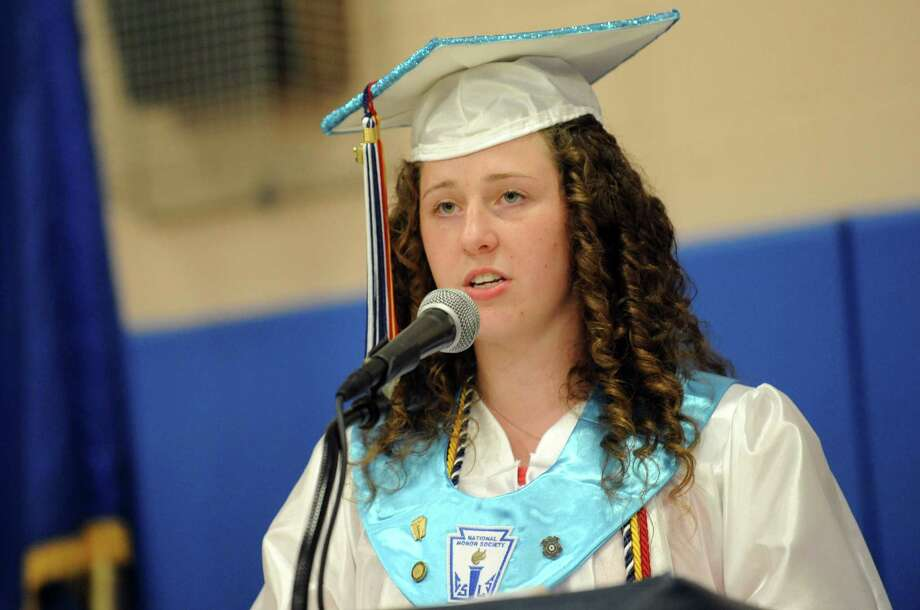 Class President Mary Elizabeth Kraynak addresses fellow graduates during Ansonia High School's commencement ceremony Thursday, June 7, 2012 at the school in Ansonia, Conn. Photo: Autumn Driscoll / Connecticut Post
