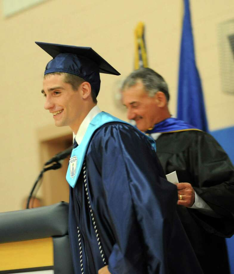 Valedictorian Albert Kwaskiewica during Ansonia High School's commencement ceremony Thursday, June 7, 2012 at the school in Ansonia, Conn. Photo: Autumn Driscoll / Connecticut Post