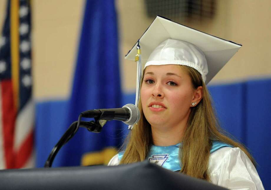 Salutatorian Rose Marie Scalzi addresses fellow graduates during Ansonia High School's commencement ceremony Thursday, June 7, 2012 at the school in Ansonia, Conn. Photo: Autumn Driscoll / Connecticut Post