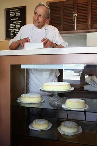 Cheesecake maker Sam Zanze boxing a cheesecake for a customer at Zanze's cheesecake in San Francisco, California, on Thursday, May 31, 2012. Photo: Liz Hafalia, The Chronicle