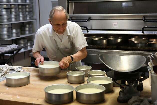 Cheesecake maker Sam Zanze preparing his cheesecake for the oven at Zanze's cheesecake in San Francisco, California, on Saturday, May 2, 2012. Photo: Liz Hafalia, The Chronicle
