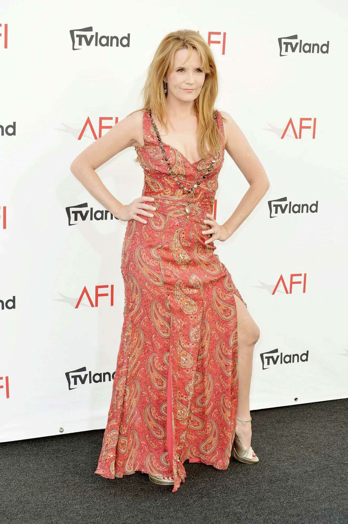 Actress Lea Thompson arrives at the 40th AFI Life Achievement Award honoring Shirley MacLaine held at Sony Pictures Studios in Culver City, Calif., on June 7, 2012. The AFI Life Achievement Award tribute to Shirley MacLaine will premiere on TV Land on Saturday, June 24 at 9 p.m. ET/PST.