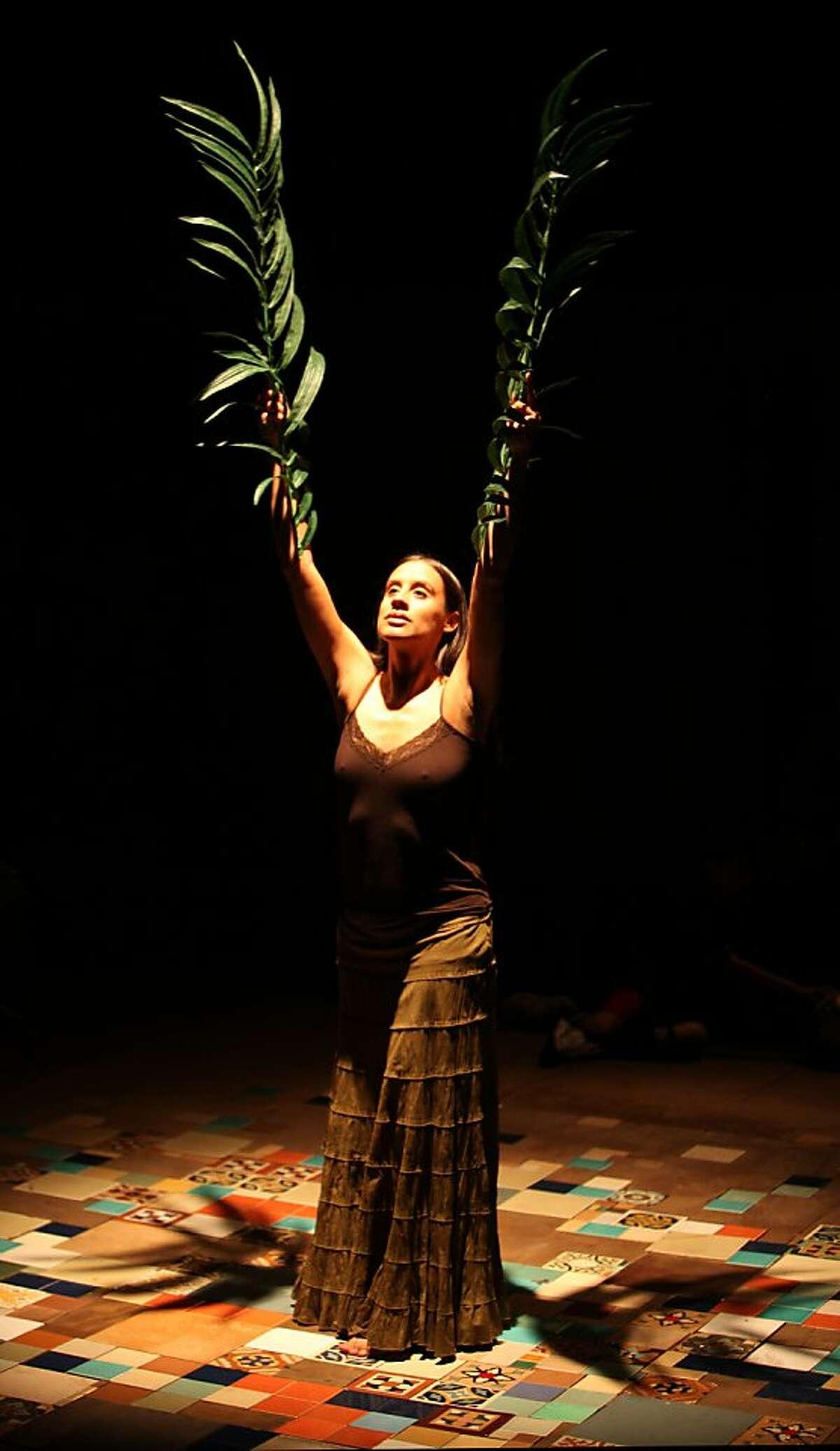 "Sabina Zuniga Varela as Medea in ""Bruja"" at Magic Theatre (Photo: Jennifer Reiley). Medea (Sabina Zuniga Varela) uses the ""old ways"" to bring focus in her calling as a healer."