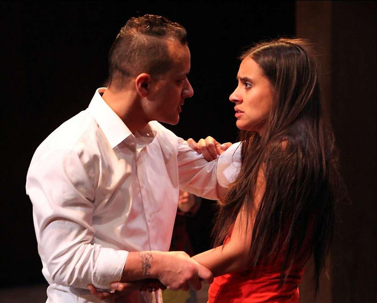 "Sean San JosŽ and Sabina Zuniga Varela in ""Bruja"" at Magic Theatre (Photo: Jennifer Reiley). Jason (Sean San JosŽ) and Medea (Sabina Zuniga Varela) struggle to realize Jason's ambitions while remaining a family."