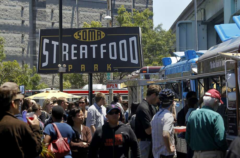 The new SOMA Streatfood park has areas for sitting and bathrooms. A new San Francisco food truck permanent location has started at 428 11th Street in the shadow of the big Costco building. Photo: Brant Ward, The Chronicle