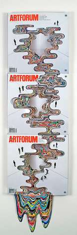 """Artforum #35 Collaboration with Bruce Nauman (Pour Series)"" (2012) altered ARTFORUM magazines by Francesca Pastine   38 x 12 x 4 inches Photo: Unknown"
