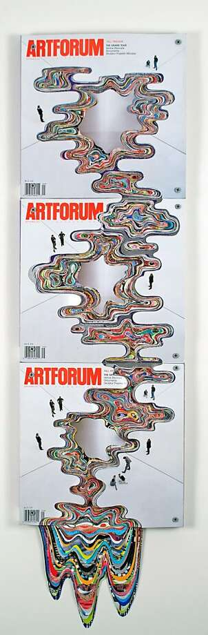 """Artforum #35 Collaboration with Bruce Nauman (Pour Series)"" (2012) altered ARTFORUM magazines by Francesca Pastine   38 x 12 x 4 inches Photo: Unknown"
