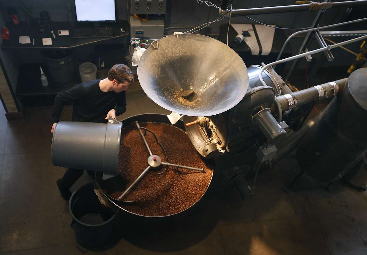 Ben Kaminsky roasts beans at the Ritual Coffee roastery in San Francisco, Calif. on Thursday, June 7, 2012.