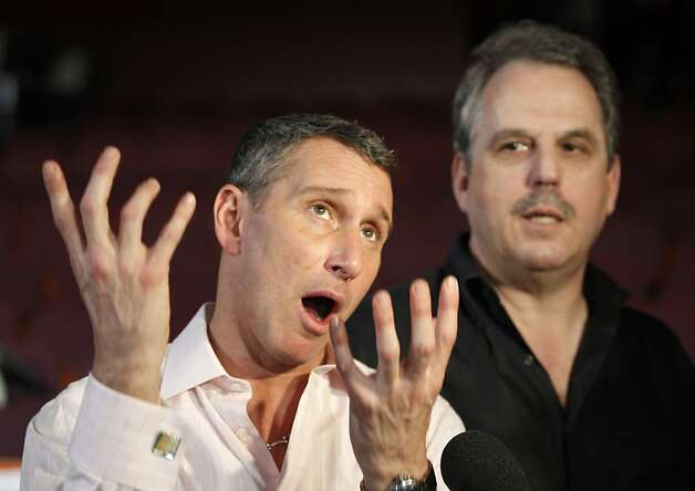 Producers for the 82nd Academy Awards, Adam Shankman, left, and Bill Mechanic talk to the media inside the Kodak Theatre in the Hollywood section of Los Angeles, Wednesday, March 3, 2010.  The Academy Awards will be held on Sunday. Photo: Chris Carlson, AP