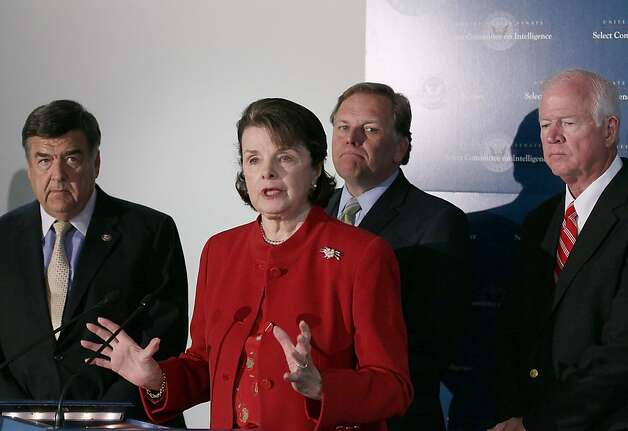 WASHINGTON, DC - JUNE 07:  U.S. Sen. Dianne Feinstein (D-CA), (2nd-L), speaks to the media while flanked by U.S. Sen. Saxby Chambliss (R-GA)(R), U.S. Rep.  Mike Rogers (R-MI)(2nd-R) and U.S. Rep.  Dutch Ruppersberger (D-MD)(L), after a closed door joint Senate and House Intelligence Committee meeting on Capitol Hill, on June 7, 2012 in Wasington, DC. The joint Intelligence committee met with James R. Clapper, Director of National Intelligence to discuss administration leaks of classified information.  (Photo by Mark Wilson/Getty Images) Photo: Mark Wilson, Getty Images