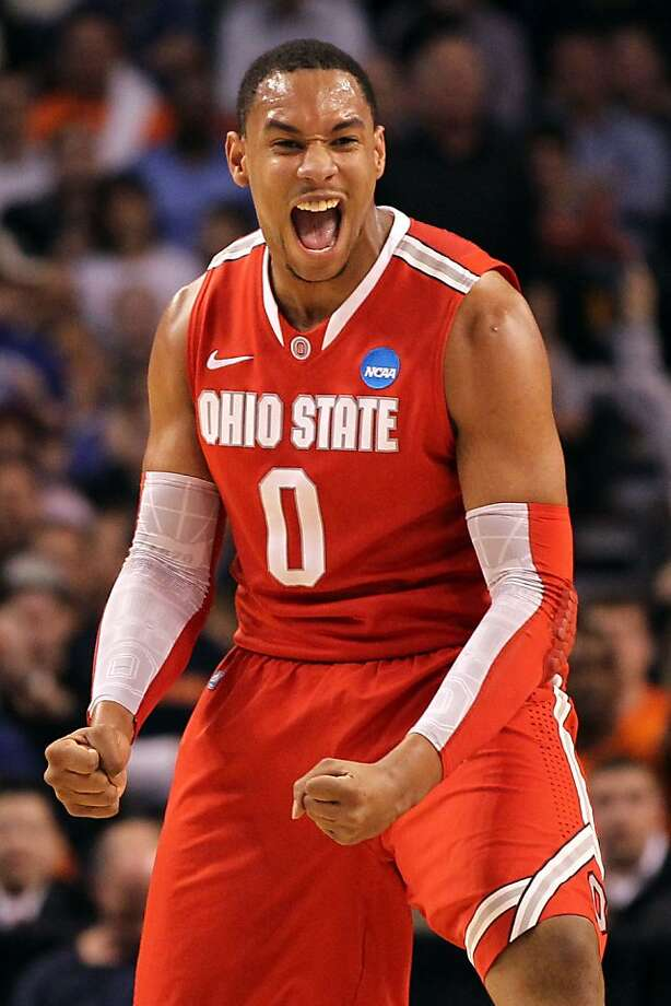 BOSTON, MA - MARCH 24:  Jared Sullinger #0 of the Ohio State Buckeyes reacts after a play against the Syracuse Orange during the 2012 NCAA Men's Basketball East Regional Final at TD Garden on March 24, 2012 in Boston, Massachusetts.  (Photo by Jim Rogash/Getty Images) Photo: Jim Rogash, Getty Images