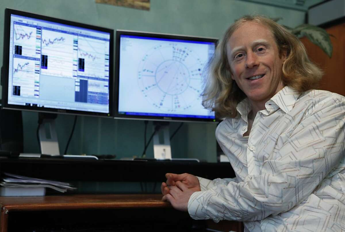 Jonathan Pearl uses astrology to predict the stock market in San Francisco, Calif. on Tuesday, June 5, 2012.