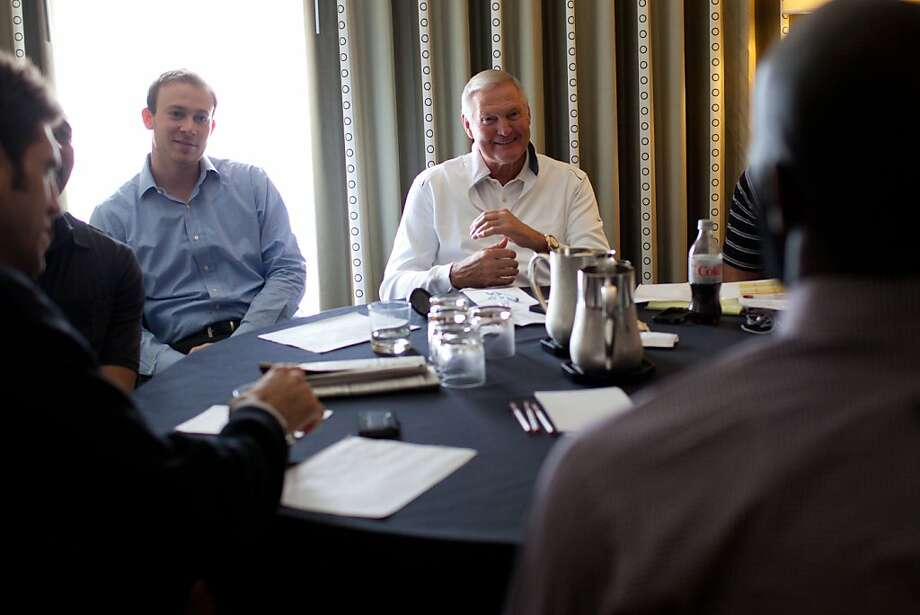 A prospect interviews with Golden State Warriors executives including board member Jerry West (center) on Thursday, June 7, 2012, during the NBA draft combine in Chicago. After morning workouts and meeting with the media, prospects met with executives with teams potentially interested in signing them. Photo: Jeff Cagle, Special To The Chronicle