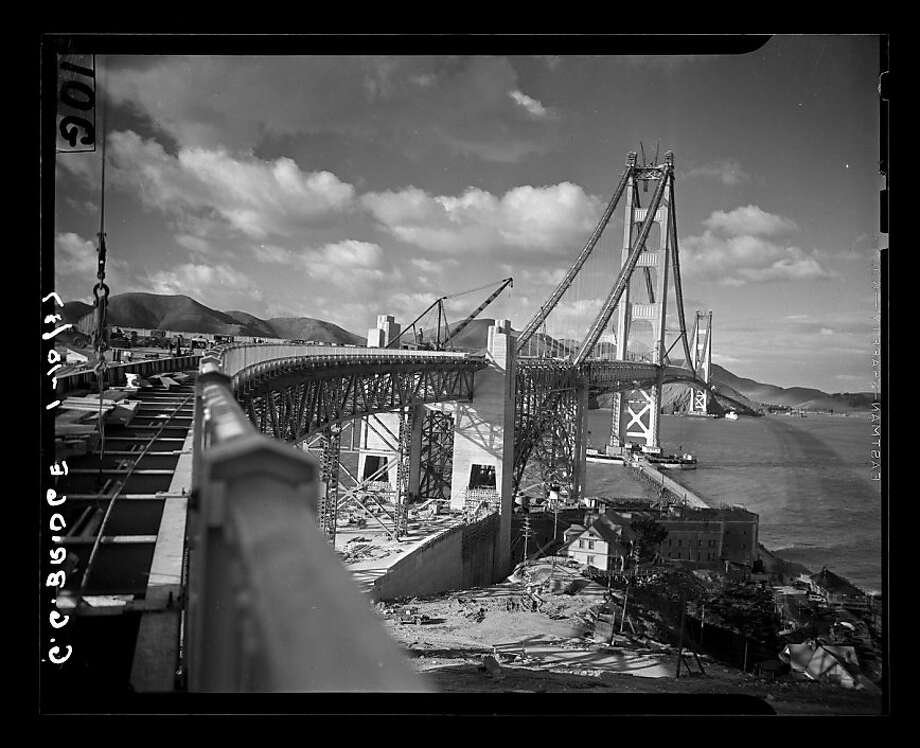 Construction of the Golden Gate Bridge on January 10, 1937. San Francisco Chronicle archive photos of the Golden Gate Bridge construction and opening to the public. The city of San Francisco will celebrate the Golden Gate Bridge's 75th anniversary on Sunday, May 27, 2012. Photo: San Francisco Chronicle