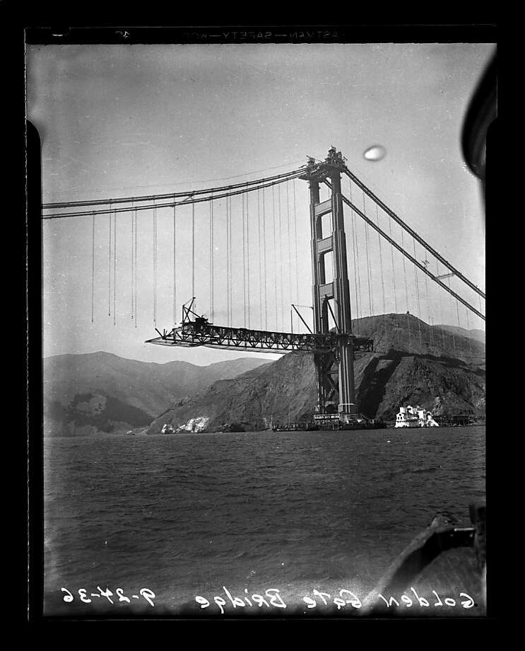 The Golden Gate Bridge under construction on September 24, 1936.  Photo: San Francisco Chronicle
