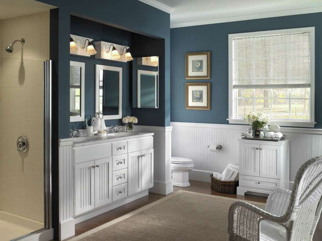 SABRINA SOTO. Dark Walls Contrast With White Beadboard Wainscoting And  Cabinets For A Bright, Fresh Look In