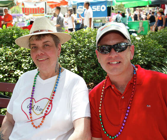 FEATURES; ACS PRIDEFEST JMS; 06/11/11; From the left, Charlotte Perez and Lee P'Pool [CQ] at Pridefest San Antonio, Saturday, June 11, 2011, at Hemisfair Plaza in San Antonio. ( Photo by J. Michael Short / SPECIAL ) Photo: J. Michael Short, SPECIAL TO THE EXPRESS-NEWS / THE SAN ANTONIO EXPRESS-NEWS
