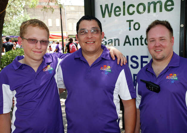 FEATURES; ACS PRIDEFEST JMS; 06/11/11; From the left, Matt Saxon, John Barbo and Patrick Lee at Pridefest San Antonio, Saturday, June 11, 2011, at Hemisfair Plaza in San Antonio. ( Photo by J. Michael Short / SPECIAL ) Photo: J. Michael Short, SPECIAL TO THE EXPRESS-NEWS / THE SAN ANTONIO EXPRESS-NEWS