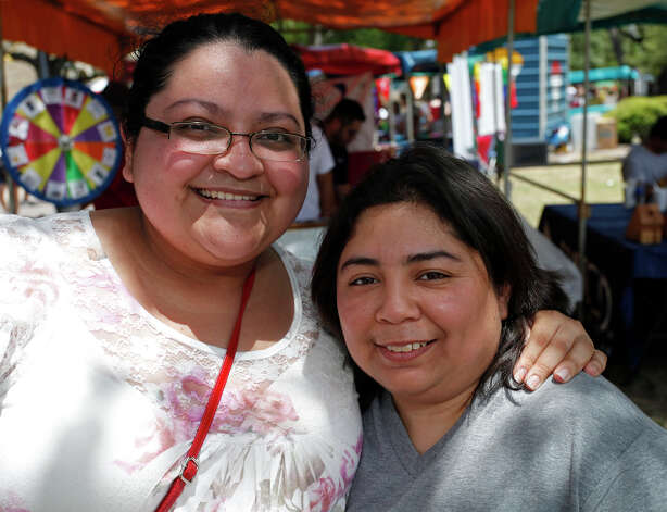 FEATURES; ACS PRIDEFEST JMS; 06/11/11; From the left, Maria Castillo and Monica Gutierrez at Pridefest San Antonio, Saturday, June 11, 2011, at Hemisfair Plaza in San Antonio. ( Photo by J. Michael Short / SPECIAL ) Photo: J. Michael Short, SPECIAL TO THE EXPRESS-NEWS / THE SAN ANTONIO EXPRESS-NEWS
