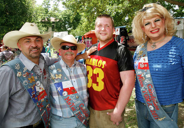 FEATURES; ACS PRIDEFEST JMS ; 06/12/10; From the left, Rodd Smunk, Nic Wells, Jack Johnson and Diva Divine at Pridefest 2010, Saturday, June 12, 2010 at Hamisfair Plaza in San Antonio. ( PHOTO by J. Michael Short / SPECIAL ) Photo: J. MICHAEL SHORT, SPECIAL TO THE EXPRESS-NEWS / THE SAN ANTONIO EXPRESS-NEWS