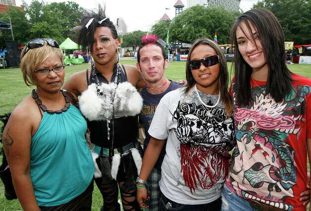 FEATURES; ACS PRIDEFEST JMS ; 06/12/10; From the left, Irene Sanchez, Honey Daniels, Jon Bearor, Yvonne Sanchez and Andrea Tamez at Pridefest 2010, Saturday, June 12, 2010 at Hamisfair Plaza in San Antonio. ( PHOTO by J. Michael Short / SPECIAL ) Photo: J. MICHAEL SHORT, SPECIAL TO THE EXPRESS-NEWS / THE SAN ANTONIO EXPRESS-NEWS