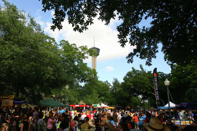 People crowded Hemisfair Park for PrideFest San Antonio 2010, Saturday, June 12, 2010. (Jennifer Whitney/ special to the San Antonio Express-News) Photo: Jennifer Whitney, Special To The Express-News / special to the San Antonio Express-News