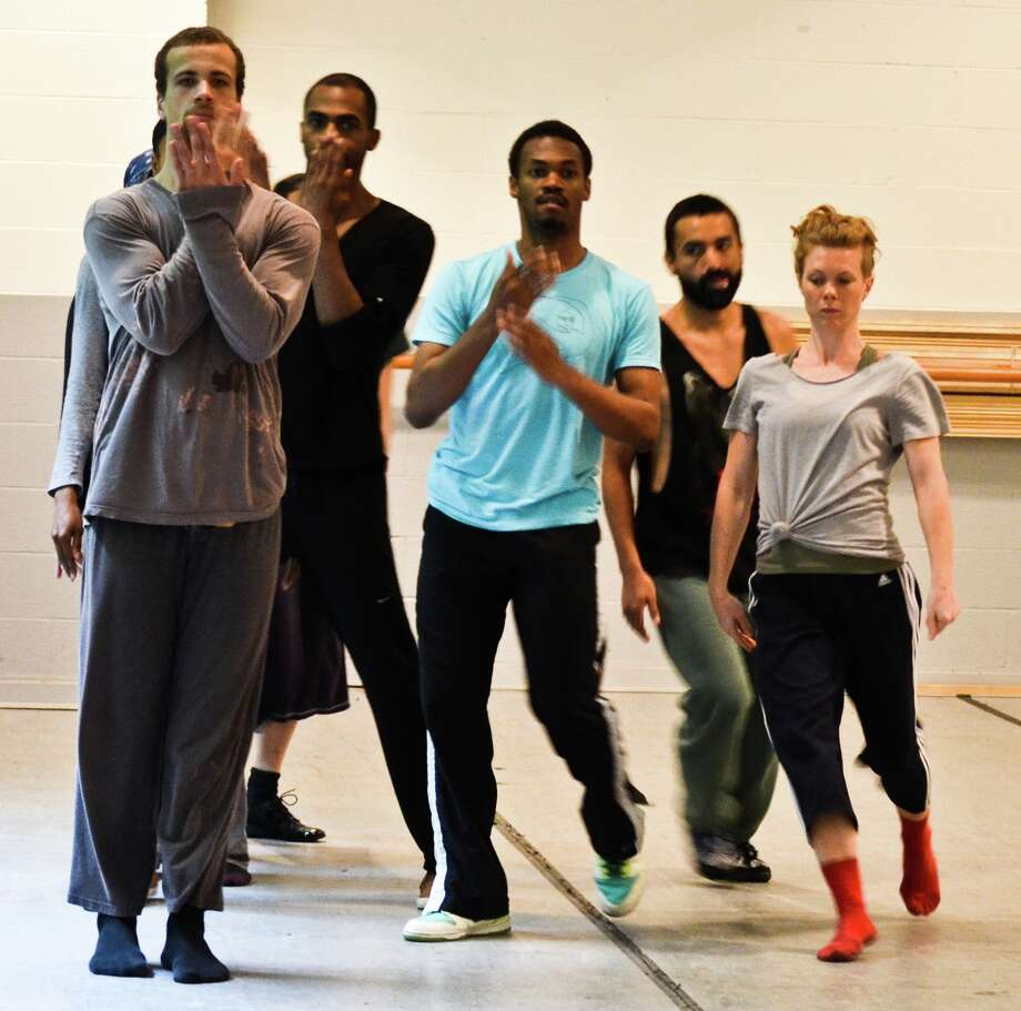 Members of the Bill T. Jones/Arnie Zane Dance Company rehearse Wednesday at Saratoga Performing Arts Center, ahead of the Thursday night performance. (Courtesy SPAC)