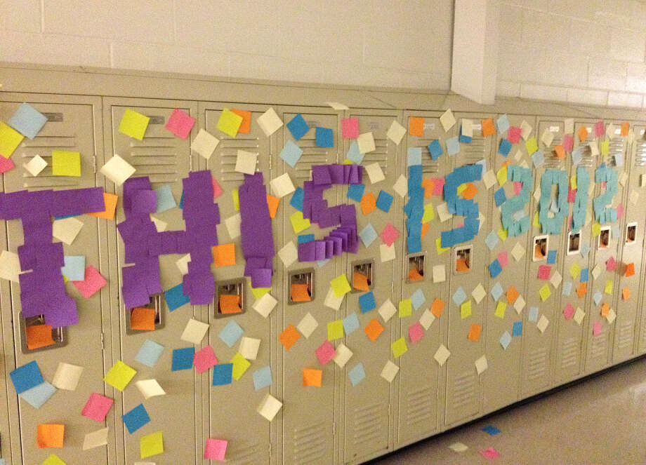 Ravena-Coeymans-Selkirk High School seniors have been suspended for sticking Post-It notes throughout the hallways of the school Thursday night. The students brought about 5,000 packs of the notes into the building and arranged then throughout the hallways.