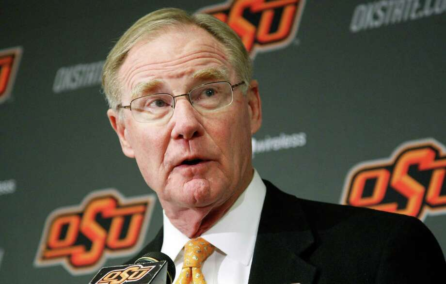 FILE - In this Friday, Nov. 18, 2011 file photo, Oklahoma State University president Burns Hargis speaks during a news conference in Stillwater, Okla. Chesapeake Energy Corp. shareholders showed their displeasure with the company's board by withholding support for two directors up for re-election at Friday's annual meeting. Both directors have tendered their resignation. Hargis is one of the two directors who resigned Friday. Photo: AP