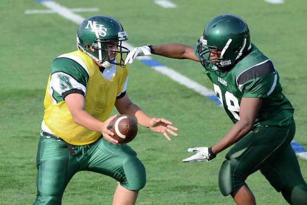 Norwalk High School holds the annual Green and White spring football game at Testa field in Norwalk, CT on Friday June 8, 2012. Photo: Shelley Cryan / Shelley Cryan freelance; Stamford Advocate freelance