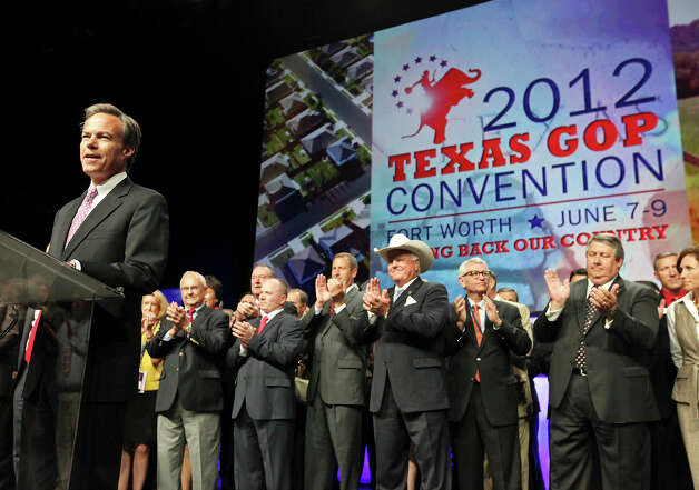 Texas House Speaker Joe Straus (left) speaks during the 2012 Texas GOP Convention held at the Fort Worth Convention Center Friday June 8, 2012 in Fort Worth, Texas. Photo: Edward A. Ornelas, San Antonio Express-News / © 2012 San Antonio Express-News