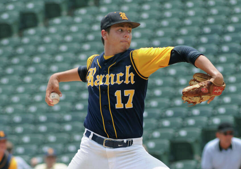 Cypress Ranch senior pitcher Grant Slaughter works to an Arlington Martin hitter during the bottom o