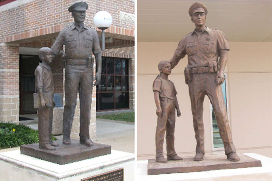 The Sugar Land statue, left, features a police officer and a boy holding a book. The Pearland statue, right, shows a similar pair, but the boy wears a backpack. / Bob Pack