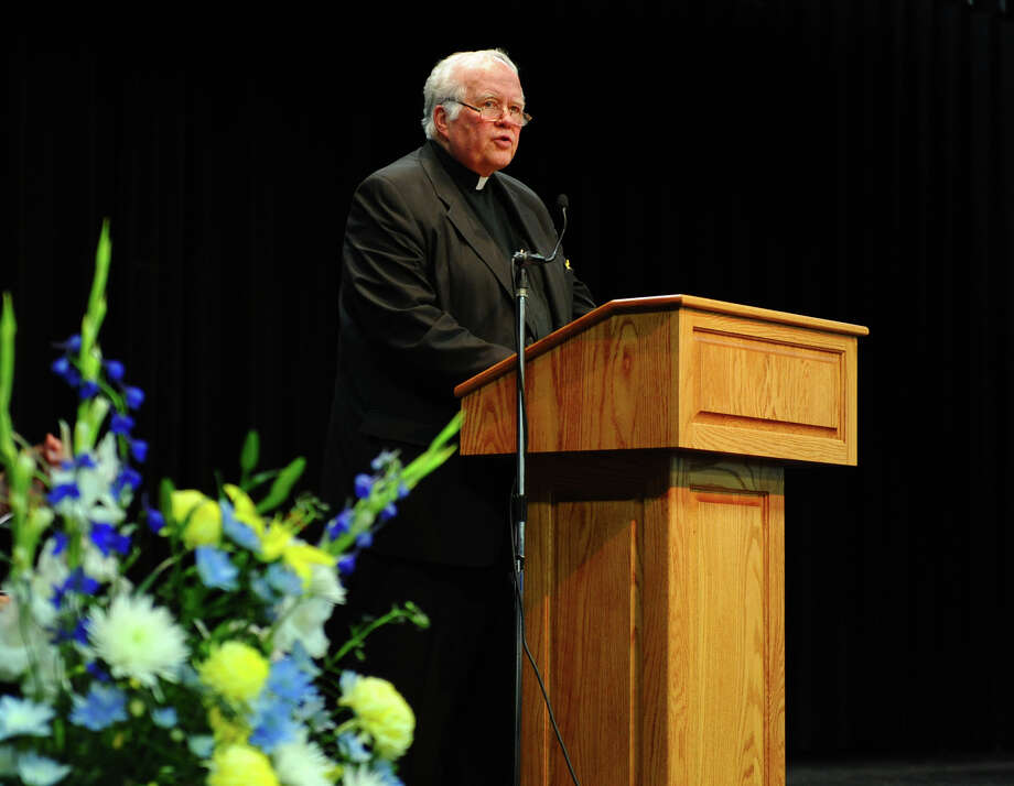 Rev. Bill Sangiovanni Notre Dame, President of Notre Dame of Fairfield, makes remarks, during the Class of 2012's Commencement Exercises in Fairfield, Conn. on Friday June 8, 2012. Photo: Christian Abraham / Connecticut Post