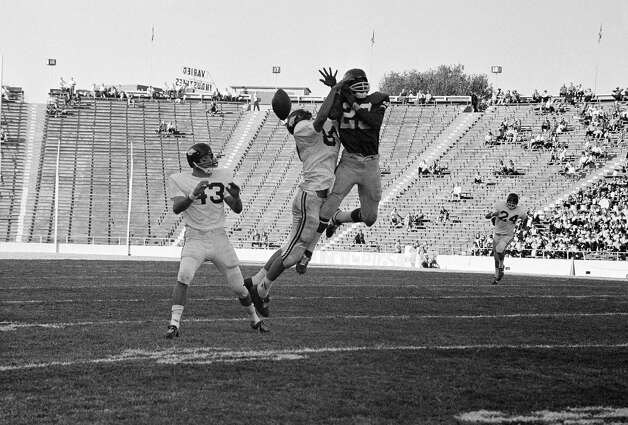 Beaumont's Jerry LeVias attempts to catch a pass against Arkansas on Nov. 18, 1967.