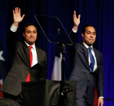 Joaquin Castro left, introduces his twin brother and San Antonio Mayor Julian Castro during the the 2012 Texas Democratic Party State Convention at the George R. Brown Convention Center Friday, June 8, 2012, in Houston. Photo: James Nielsen, Chronicle / © Houston Chronicle 2012