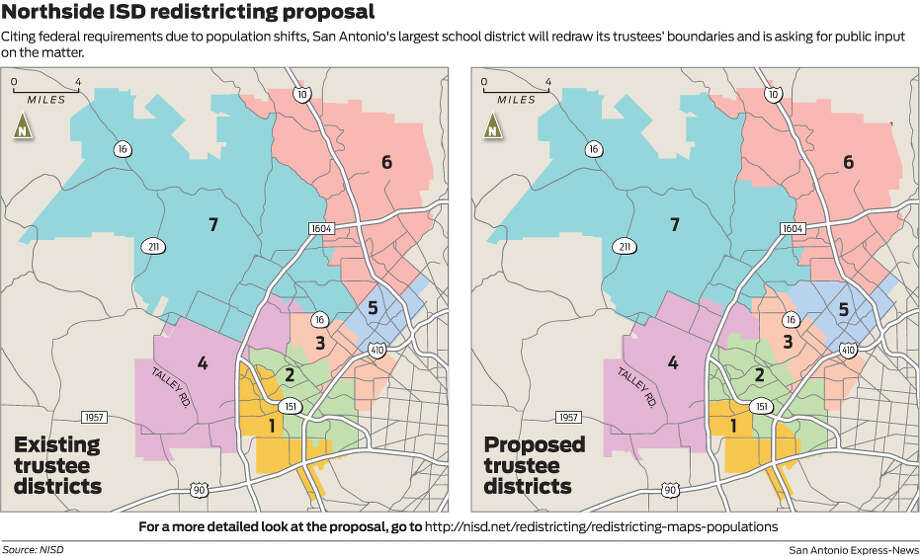 Citing federal requirements due to population shifts, San Antonio's largest school district will redraw its trustees' boundaries and is asking for public input on the matter. Photo: Mark Blackwell