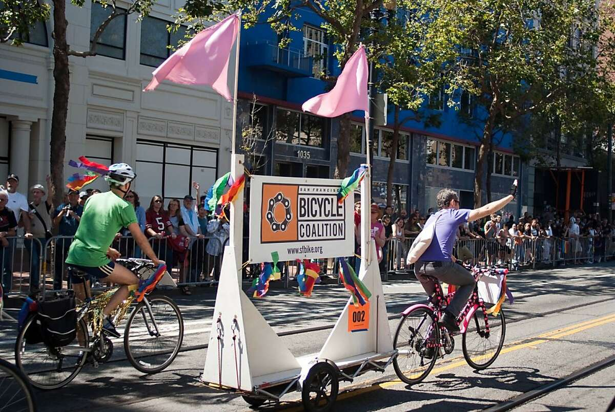 Members of the S.F. Bicycle Coalition can sign up to ride in the Pride parade.