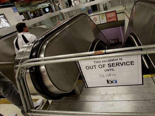 This escalator has a promise date of June 8th to be fixed. BART had a record 28 escalators out of service recently. The agency blames aging components, weather, vandalism and homelessness.  There were two escalators out of service at the Powell Street Station Sunday June 3, 2012, one leading from Powell Street to the station, and one leading down to the trains. Photo: Brant Ward, The Chronicle