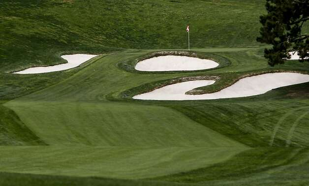 The green side bunkers of the 18th green, spell out the letters, I,O and U. A preview look at The Olympic Cub, on Monday March 19, 2012, in San Francisco, Ca., the site of the 2012 United States Open Golf Championship in June of this year. Photo: Michael Macor, SFC