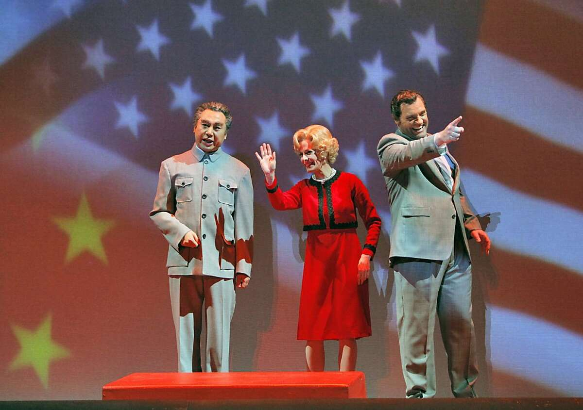 "Chen-Ye Yuan (Chou En-lai), Maria Kanyova (Pat Nixon), and Brian Mulligan (Richard Nixon) in, ""Nixon in China,"" by the San Francisco Opera."