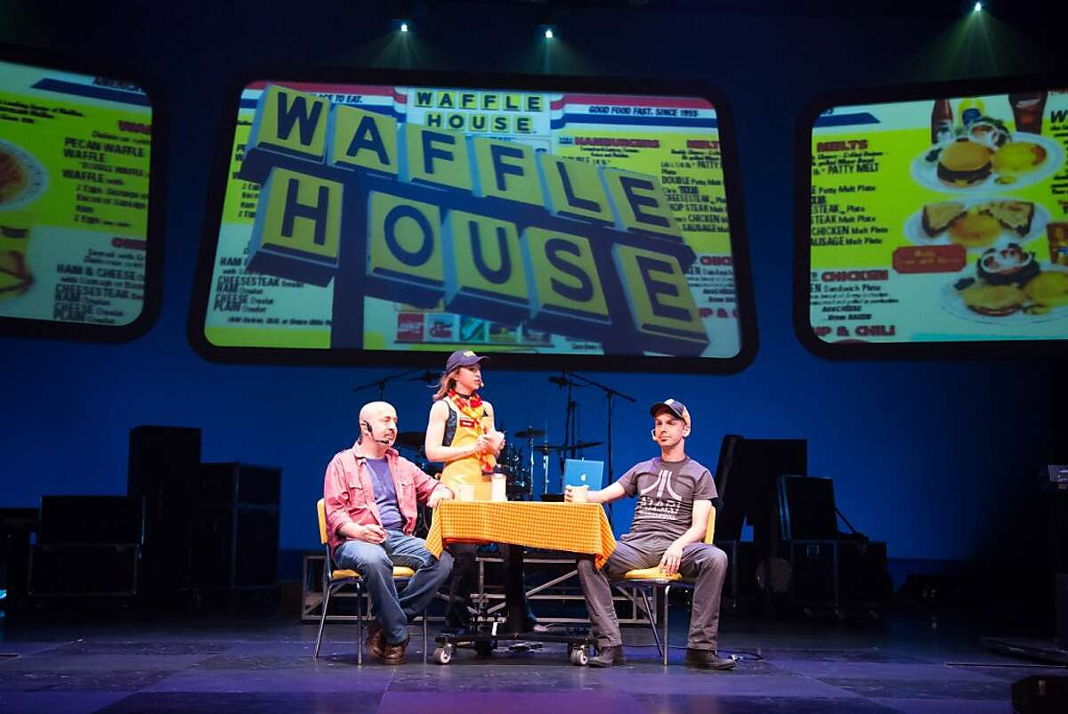 Gene Lewin (left), Valerie Vigoda and Brendan Milburn visit a waffle house on the road in the world premiere of the new GrooveLily musical